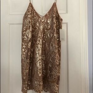 Rose gold sequined dress from Tobi.